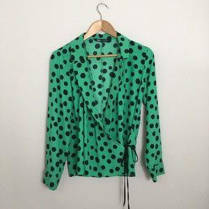 ZARA Green Polka Dot Wrap Front  V Neck Blouse